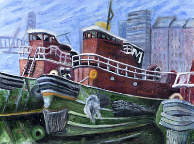 New Hampshire Artist Painting - Moran Tugboats. Portsmouth New Hampshire by Maurice Pelissier