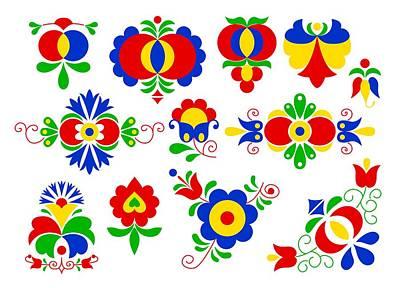 Bohemia Digital Art - Moravian Folk Ornaments by Miroslav Nemecek