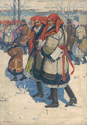 Painting - Moravian Slovaks In The Winter by Antos Frolka