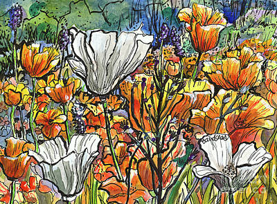 Painting - More California Poppies by Terry Banderas