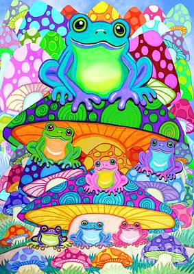 Mushroom Digital Art - More Colorful Frogs On Colorful Magic Mushrooms by Nick Gustafson