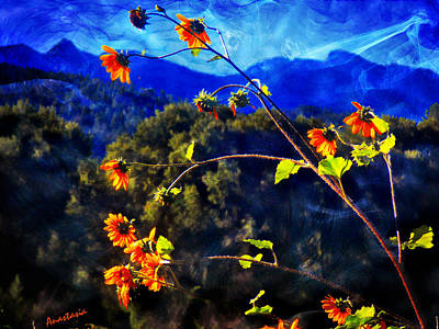 Mixed Media - More Joy With Sunflowers And Blue Mountains by Anastasia Savage Ealy