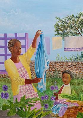 Philodendron Painting - More Laundry  by Gloria Jones