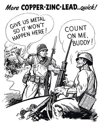 Veteran Drawing - More Metal Ww2 Cartoon by War Is Hell Store