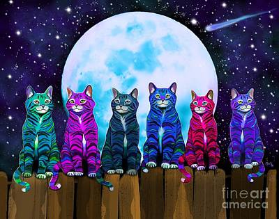 More Moonlight Meowing Art Print by Nick Gustafson
