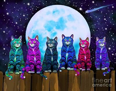 Digital Art - More Moonlight Meowing by Nick Gustafson