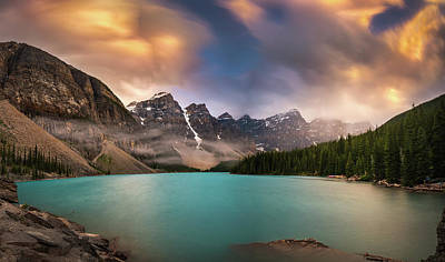 Photograph - More Rain At Moraine Lake by William Lee