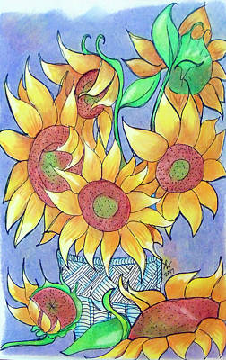 Drawing - More Sunflowers by Loretta Nash