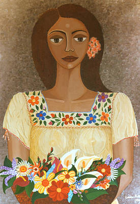 Nicaragua Painting - More Than Flowers She Sold Illusions by Madalena Lobao-Tello