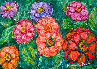 Painting - More Zinnias by Kendall Kessler