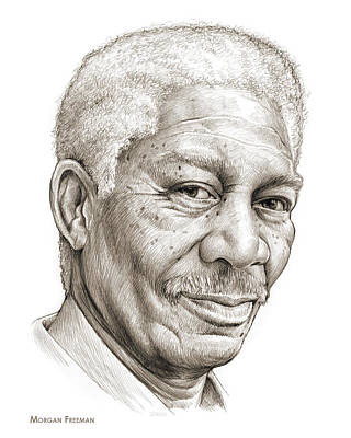 Redemption Drawing - Morgan Freeman by Greg Joens
