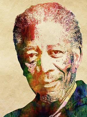 Multi Colored Digital Art - Morgan Freeman by Mihaela Pater