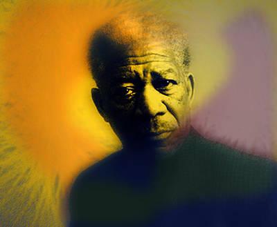 Famous Actors Painting - Morgan Freeman Portrait  by Enki Art