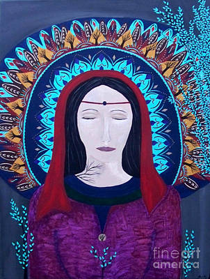 Painting - Morgan Le Fay With Mandala by Jean Fry