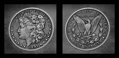Photograph - Morgan Silver Dollar--1891 by Morgan Wright