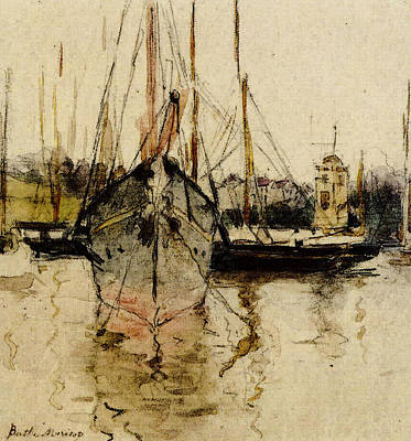 Berthe Digital Art - Morisot Berthe Boats Entry To The Medina In The Isle Of Wight by Berthe Morisot