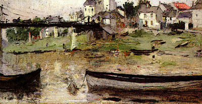 Berthe Digital Art - Morisot Berthe Boats On The Seine by Berthe Morisot