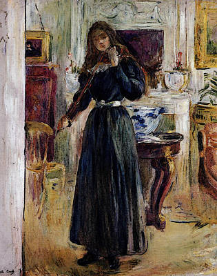 Berthe Digital Art - Morisot Berthe Julie Playing A Violin by Berthe Morisot
