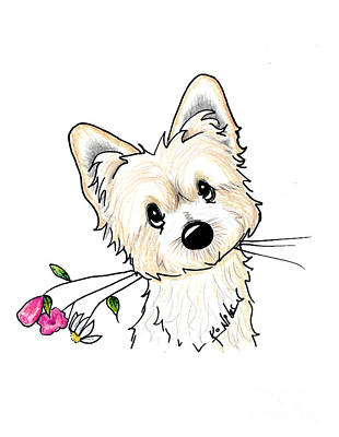 Drawing - Morkie Illustration by Kim Niles