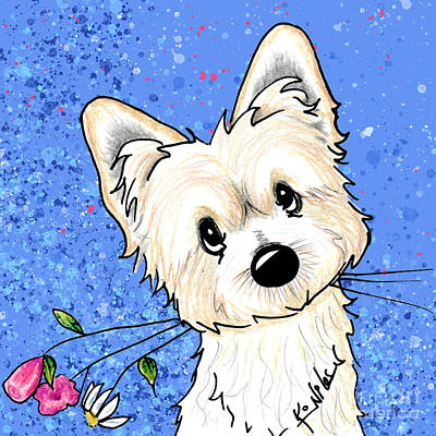 Drawing - Morkie Garden Helper by Kim Niles