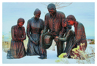 Stanley Watts Photograph - Mormon Handcart Family Monument by Margie Wildblood