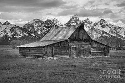 Photograph - Mormon Homestead Barn Black And White by Adam Jewell