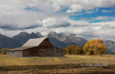 Photograph - Mormon Row Barn by Mike Fitzgerald