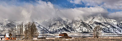 Print featuring the photograph Mormon Row Early Winter Panorama by Adam Jewell