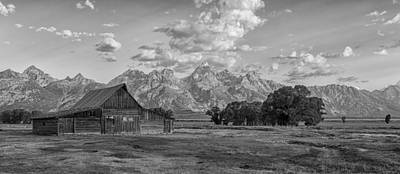 Photograph - Mormon Row Farm In Black And White by Andres Leon