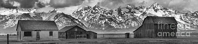 Photograph - Mormon Row Homes Panorama Black And White by Adam Jewell