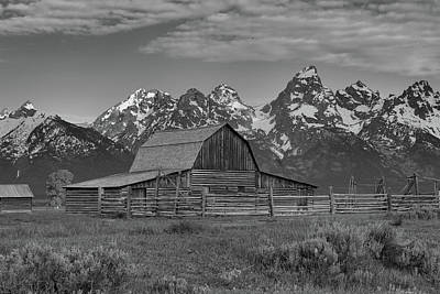 Photograph - Mormon Row Moulton Barn Black And White by Dan Sproul