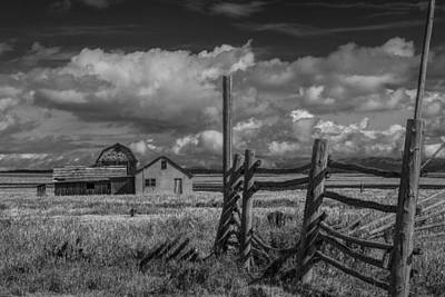 Brown Tones Photograph - Mormon Row Moulton Farm In Black And White by Randall Nyhof