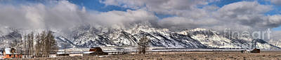 Print featuring the photograph Mormon Row Snowy Extended Panorama by Adam Jewell