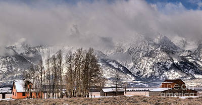 Winter Storm Photograph - Mormon Row Winter Morning Panorama by Adam Jewell