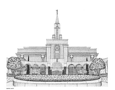 Digital Art - Mormon Temple Art Bountiful by Gerald Lynch