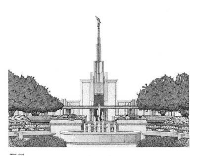 Digital Art - Mormon Temple Art Denver by Gerald Lynch