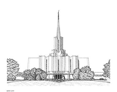 Digital Art - Mormon Temple Art Jordan River by Gerald Lynch