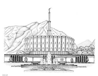 Digital Art - Mormon Temple Art Provo by Gerald Lynch