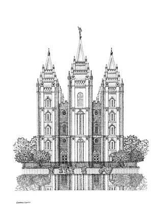 Digital Art - Salt Lake, House Of The Lord In Pointillism by Gerald Lynch