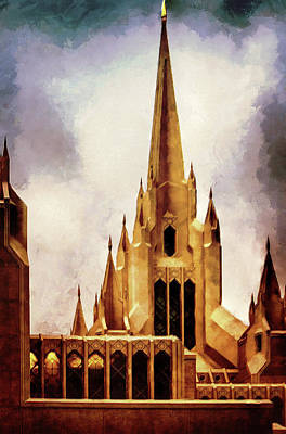 Mixed Media - Mormon Temple Steeple by Joseph Hollingsworth