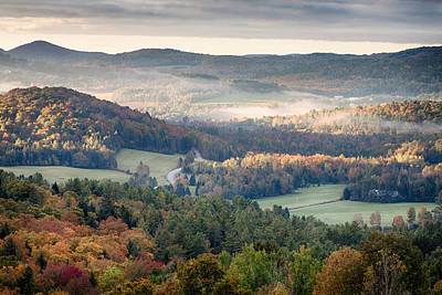 Photograph - Morning Mist Hangs Over Vermont Fall Foliage by Jeff Folger