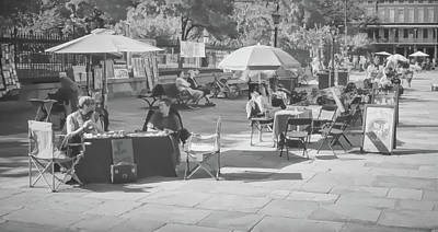 Photograph - Morning At Jackson Square - New Orleans B/w 1b by Greg Jackson