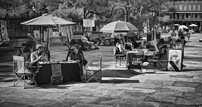 Photograph - Morning At Jackson Square - New Orleans - B/w by Greg Jackson