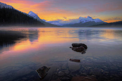 Photograph - Morning At Maligne Lake by Dan Jurak