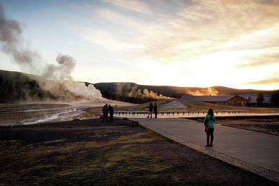 Photograph - Morning At Old Faithful by Shirley Mitchell