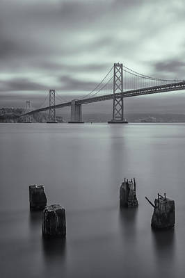 Photograph - Morning At The Bay Bridge Bw by Jonathan Nguyen