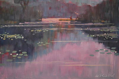 Berkshire Hills Painting - Morning At The Forth Pond by Len Stomski