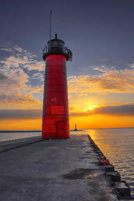 Dalek Photograph - Morning At The Kenosha Lighthouse by Dale Kauzlaric