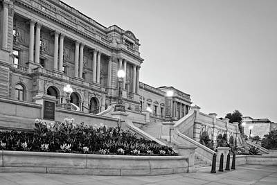 Photograph - Morning At The Library Of Congress In Black And White by Greg Mimbs