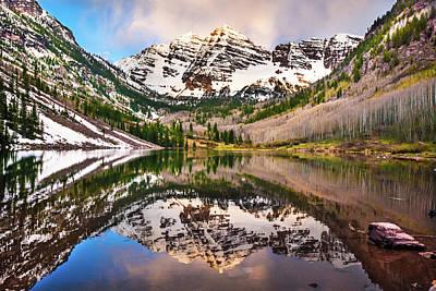 Colorado Ski Art Wall Art - Photograph - Morning At The Maroon Bells - Aspen Colorado by Gregory Ballos